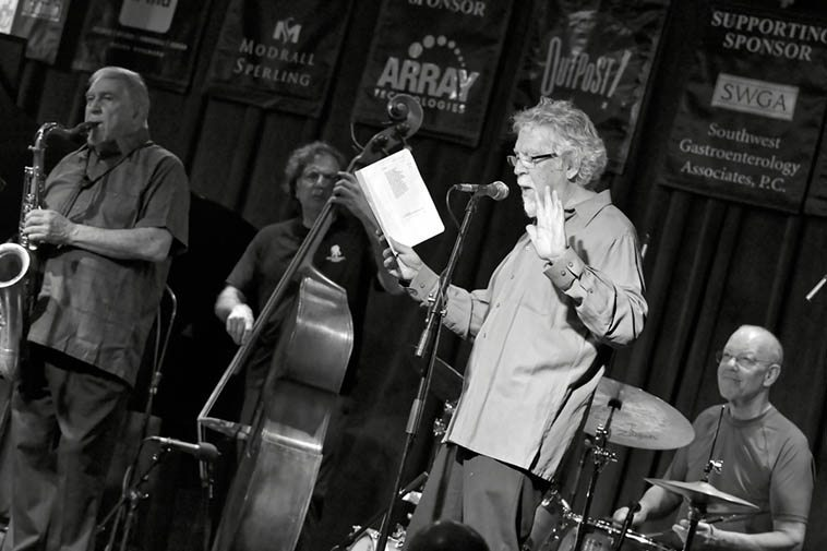 Kazzrie Jaxen Quartet -- Charley Krachy, tenor saxophone; Don Messina, bass (having brought own his gut strings restrung on the Outpost house bass): Bill Chattin, drums (with Cal's cymbals and hihat) + myself on poem -- May 5, 2o16 photo by Jim Gale