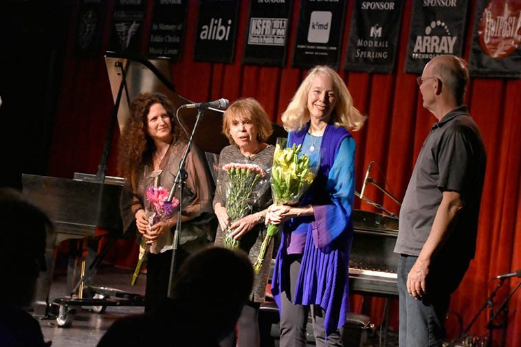 At the end Janet had bought flowers -- Carol, Virg, Kazzrie, and Bill C -- May 6, 2o16 -- I never told anyone but these two nights of concerts were my private memorial for my parents -- Don & Joy Weber -- who had passed away in the not so recent past ---- Photo by Jim Gale