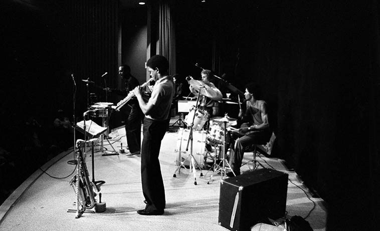 Albert Tootie Heath Sextet -- Kinsey Auditorium, Exposition Park, USC, Los Angeles -- September 27, 1981 -- Tootie (timbales), Joel Gains (elec-piano), John Warfel (elec-bass), David Gains (woodwinds), Ronnie Carpenter (drums), Dorian Holly (vocals & piano) -- photo by Mark Weber