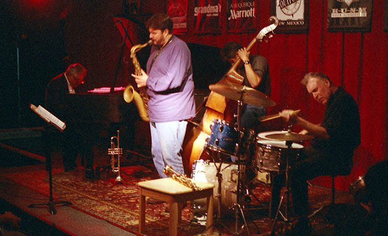 The Dave Scott-Tony Malaby Quartet at the old Outpost Performance Space in Albuquerque -- October 20, 1997 -- Dave Scott (piano & trumpet), Tony Malaby (tenor), Lou Scott (bass), and the incomparable Billy Mintz on drums -- photo by Mark Weber -- Billy will be in town as part of the Mike Baggetta Trio (Mike Baggetta: guitar / electronics; Jerome Harris: bass guitar; Billy Mintz: drums) Saturday, November 12th, 2o16 @ 8pm, $10 Tortuga Gallery, 901 Edith Blvd. SE, Albuquerque