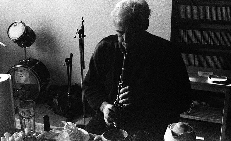 Bill Payne at Connie's studio in Williamsburg -- December 5, 2004 -- This is the first time I ever heard Bill, was this day when Connie invited him to a recording session we were having -- photo by Mark Weber -- and of course he knocked me out, one of the great masters of clarinet