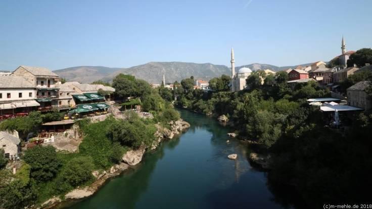 Mostar, Blick über die Neretva, Bosnien - Herzegowina