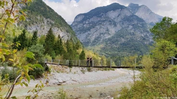 Hängebrücke über die Soca, Slowenien