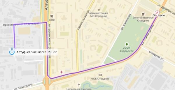 схема проезда от метро Отрадное к автосервису на алтуфьевском шоссе