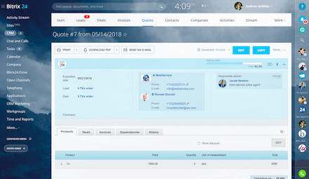 Free CRM system with quotes and invoices