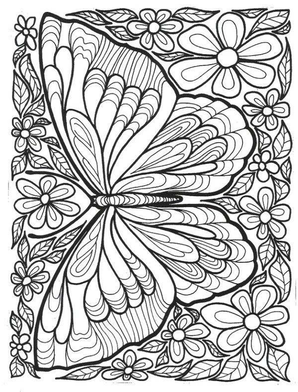 butterfly coloring pages for adults # 9