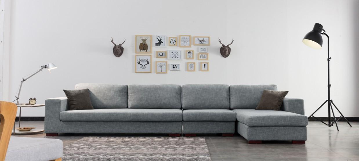 ensemble canape d angle droit et fauteuil en tissu gris opera