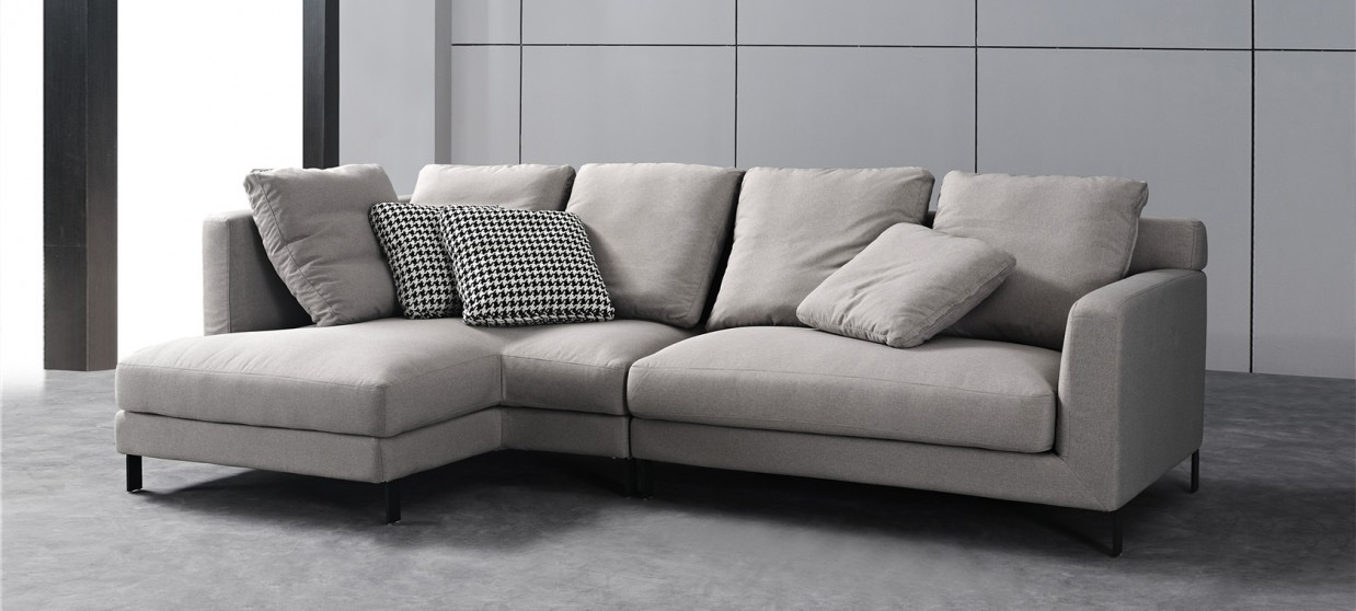 canape d angle 5 places en tissu gris columbia