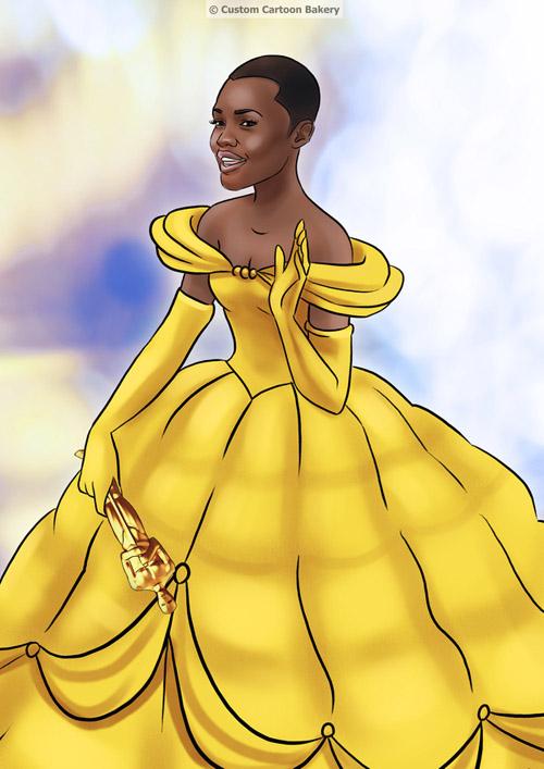 Nữ diễn viên phụ xuất sắc nhấtLupita Nyongo xinh đẹp khi khoác lên mình bộ váy lộng lẫy của nàng Belle trong phim Người đẹp và quái vật.