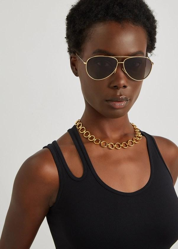 Gold-tone aviator-style sunglasses - Celine