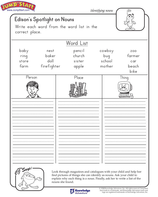 Edison's Spotlight on Nouns - Free English Worksheet for 2nd Grade