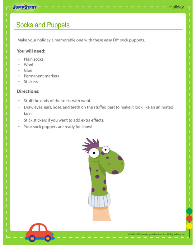 Socks and Puppets - Free holiday activity printout