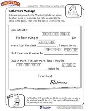 Bothoven S Message 3rd Grade English Worksheets Jumpstart