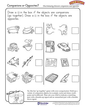 Companions Or Opposites Logical Reasoning Worksheets