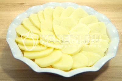 Добавить слой ломтиками нарезанного картофеля, немного посолить.