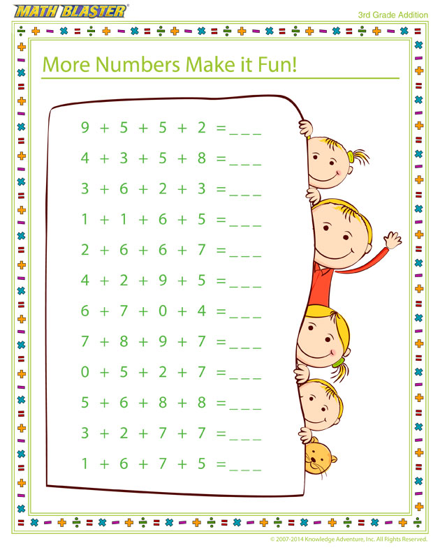 More Numbers Make it Fun! - Free Printable Math Worksheet for 3rd Grade