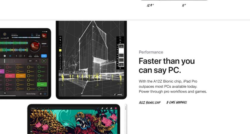 Faster than you can say PC. With the A12Z Bionic chip, iPad Pro outpaces most PCs available today. Power through pro workflows and games.
