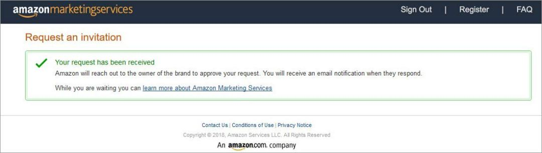 Amazon advertising registration request success