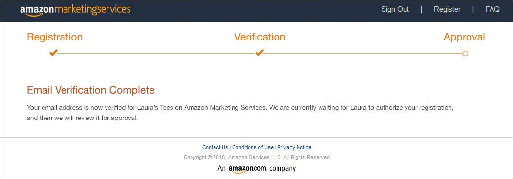 Example of first email verification success