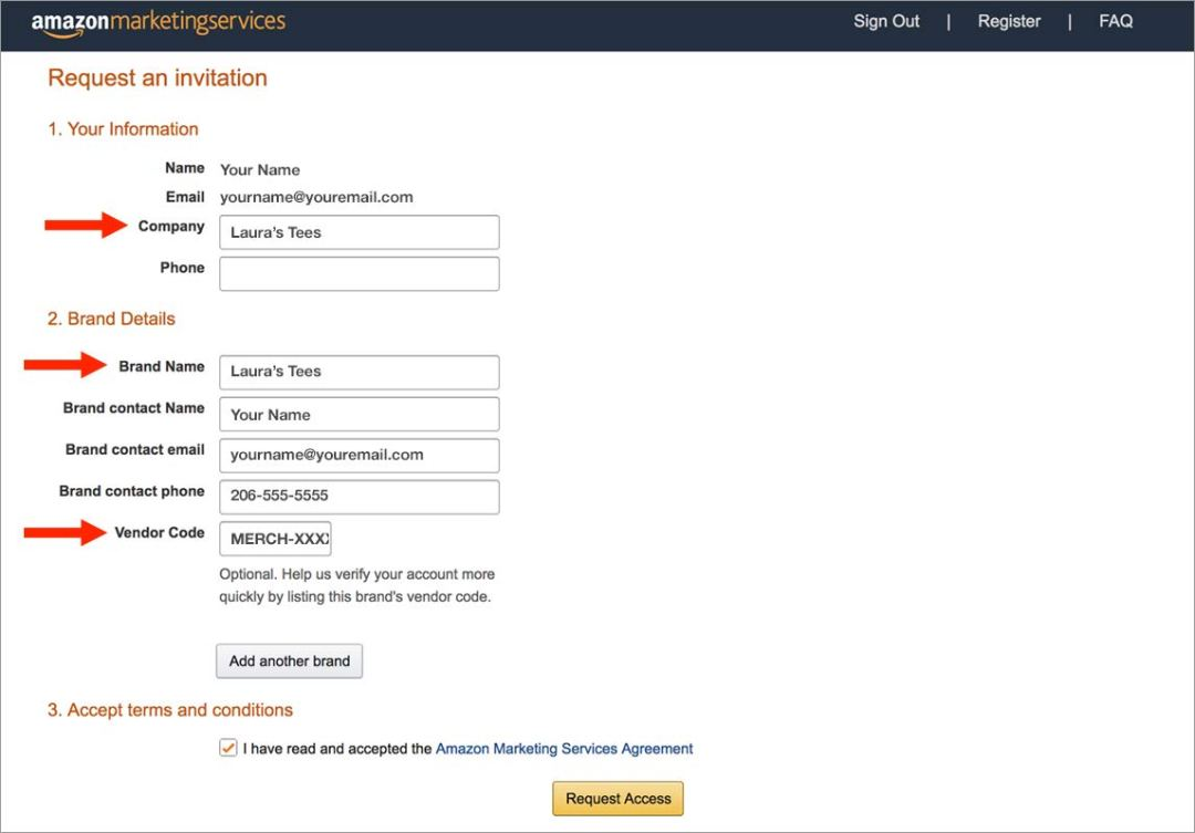 example Amazon advertising registration form