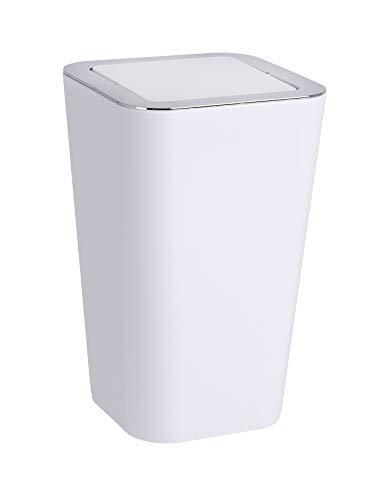 Wenko Kosmetikeimer Candy 6 Liter, Badezimmer-Mülleimer mit Schwingdeckel, Abfalleimer aus Kunststoff, 18 x 28,5 x 18 cm, weiß