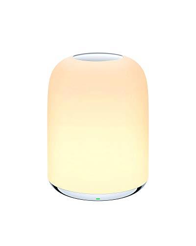 Lampe de Chevet AUKEY, Veilleuse avec Batterie Rechargeable pour Chambres à Coucher, Lumière Blanche Chaude à Intensité Variable 3000K – 6500 K et RGB Changeant de Couleur (white)