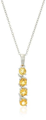Sterling Silver Genuine Citrine Four Stone Pendant Necklace,...