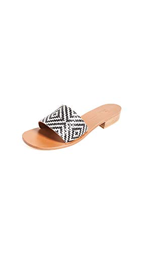 Leather: Lambskin Leather sole with rubber patch Geometric print, Rigid leather footbed, Stacked chunky heel
