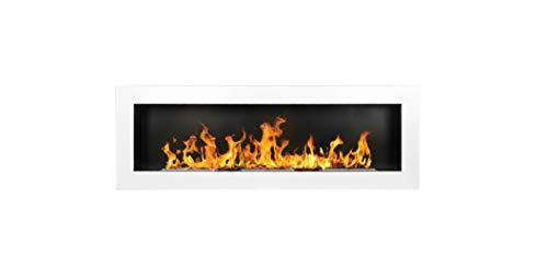 Bio Ethanol Fire BioFire Fireplace Modern 1400 x 400 White XXL
