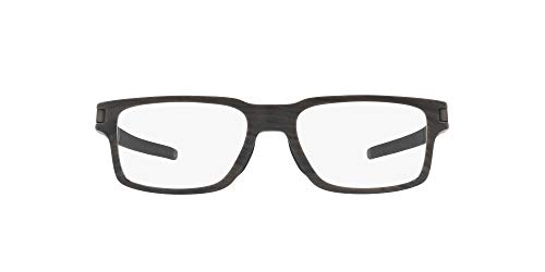 Oakley Men's OX8115 Latch EX Rectangular Eyeglass Frames Non Polarized Prescription, Woodgrain/Demo Lens, 52 mm