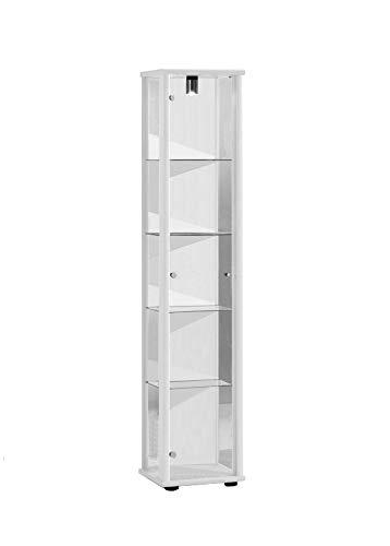 K-Möbel Glasvitrine in Weiss (176x37x33 cm) mit 4 höhenverstellbaren Glasböden aus ESG; beleuchet; perfekt für Sammler;