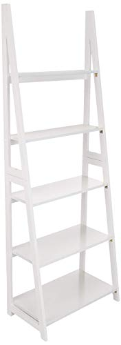 AmazonBasics Modern 5-Tier Ladder Bookshelf Organizer with Solid Rubber Wood Frame, White