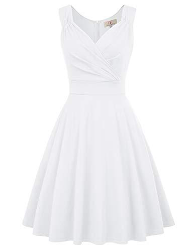 GRACE KARIN 50s Kleid Rockabilly ärmellos Partykleid Damen Vintage Kleider 50er Jahre Partykleider CL698-7 M