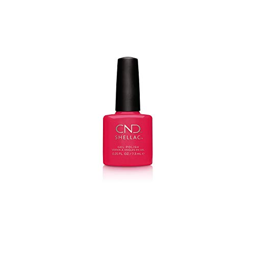 CND Shellac Gel Nail Polish, Long-lasting Color Coating NailPaint with Curve-hugging Brush, Shimmer Opaque Finish in Red, Ecstasy, 0.25 fl oz