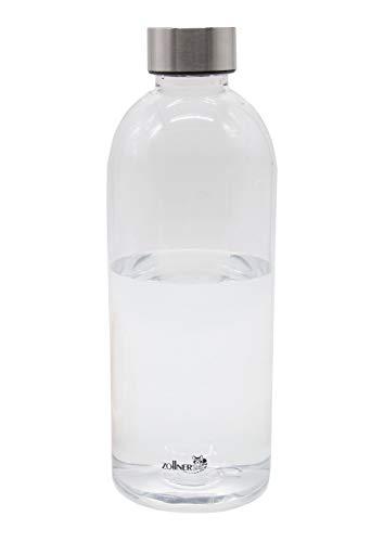 ZOLLNER24 Bottiglia d'Acqua in plastica ca. 1 L, Trasparente, Senza Bisfenolo A