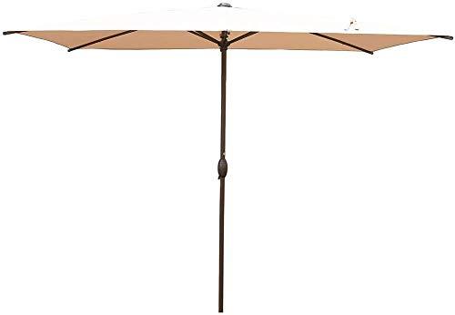 Abba Patio Rectangular Patio Umbrella Outdoor Market Table Umbrella with Push Button Tilt and Crank for Garden, Lawn, Deck, Backyard & Pool, 6.5 by 10 Ft, Beige