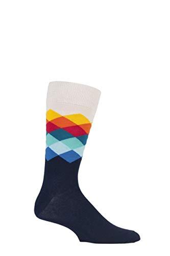 Happy Socks Unisexadulto calzini, a quadretti ar12 Blu Marine