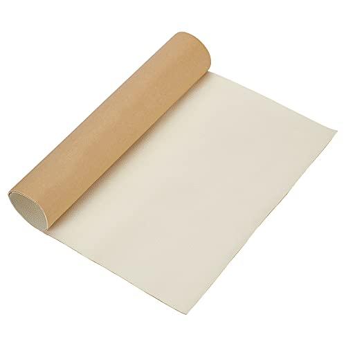 BENECREAT Patch per Riparazione in Pelle Similpelle Adesiva Da 60x30cm per Mobili per Seggiolini Auto per Divani (Bianco, 0.8 mm di Spessore)