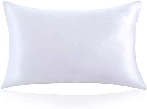 ZIMASILK Funda de Almohada de Seda de Morera 100% para el Cabello y la Piel, Ambos Lados de Seda de Momme 19, 1pc (Estándar 50x75 cm,Blanco