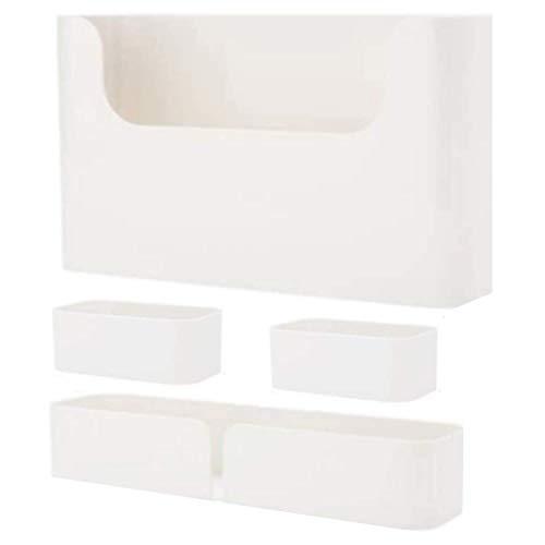 Set of 4 Bedside Shelf Organizer | Wall Mounted Floating White...