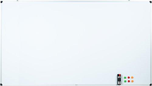 AmazonBasics - Lavagna bianca, cancellabile a secco, con supporto porta-pennarelli e bordi in...