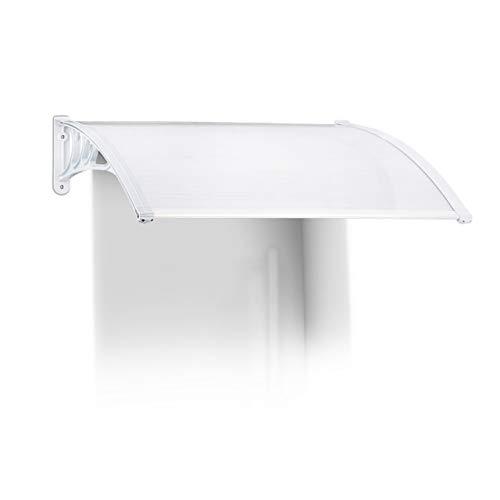 Relaxdays Marquesina toldo Techo para Puertas protección, plástico, Aluminio, 120 x 80 cm, tejado, Transparente, 80x120x25 cm