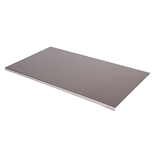 CECILU Spianatoia per Impastare Acciaio Inox in REGALO Sacca di Cotone Tagliere da Cucina Professionale in Varie Dimensioni Taglieri Pizza Piano Lavoro Tavoli (80x50cm bordo 2cm)