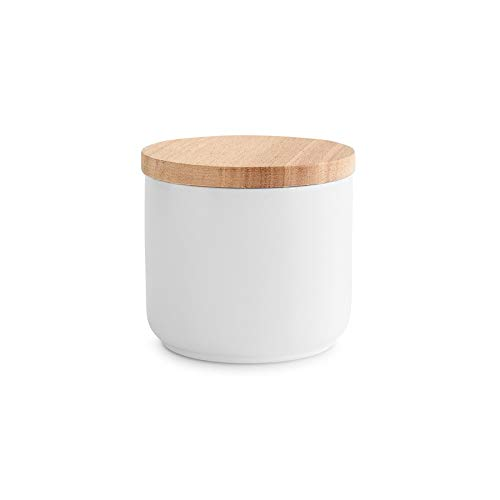 Barattoli per provviste in ceramica con coperchio in legno Sweet Scandi - 1x bianco 10,1 x 9,3 cm