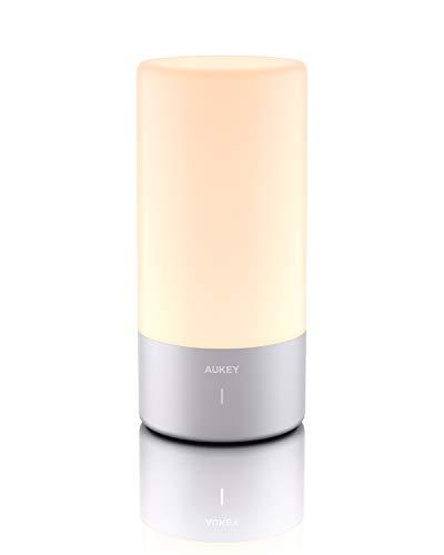 AUKEY Lampe de Chevet LED avec Contrôle Tactile à 360°, Lampe de Table avec 3 Niveaux de Lumière Blanche Réglable et Changement de 256 Couleurs RGB