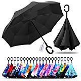 Owen Kyne Windproof Double Layer Folding Inverted Umbrella, Self Stand Upside-down Rain Protection...