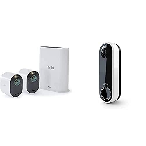 21d+81V9QOS._SL500_ [Bon plan] Pack Arlo composé de : 2 Caméras Ultra 4K HDR avec Station D'Acceuil et Sonnette Vidéo Connectée sans Fil - Blanc