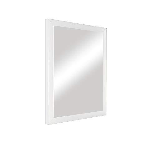 DRULINE Wandspiegel Wanddekoration Dekospiegel zum aufhängen aus Kunststoff als Dekoration für das Badezimmer | Schlafzimmer | Flur | Wohnzimmer | F0016080 | L x B x H 34 x 1.5 x 44 cm | Weiß