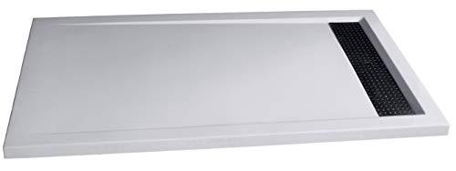 Bernstein Badshop Duschtasse rechteckig Mineralguss-Duschbecken1480BW Edelstahl - Weiß glänzend - 140x80x4,5cm