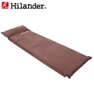 Hilander(ハイランダー) スエードインフレーターマット(枕付きタイプ) 9.0cmシングル(車中泊)ブラウン